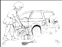summer vacation coloring page packing the car for a weekend
