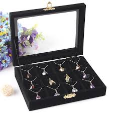 black necklace box images Fashion black 12 slots necklace box pendant holder jewelry display jpg