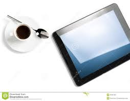 top of view of cup of coffee and digital tablet pc concept of new