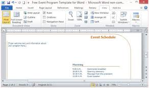 free event program template for word