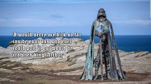 the new 8ft statue of king arthur on the top of tintagel cliffs pics