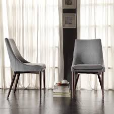 Upholstered Dining Chair Set Q Mid Century Grey Fabric Upholstered Slope Leg Dining Chairs