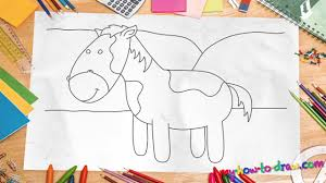 how to draw a horse easy step by step drawing lessons for kids