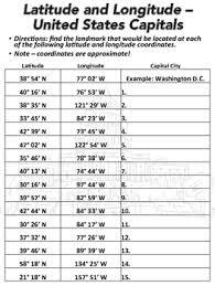 latitude and longitude worksheet u s capitals tpt
