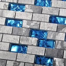 ocean blue glass nature stone tile kitchen backsplash 3d bath