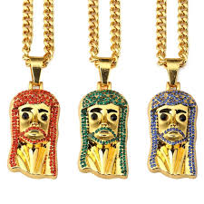 jesus piece necklace images Top iced out jesus piece necklaces charm golden chain bling jpg