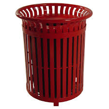 paris 34 gal red steel outdoor trash can with steel lid and