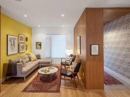 Yellow Accent Wall Small Living Room Runner Gray Couch Oriental Rug Wallpaper