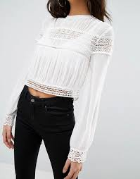 pleated blouse asos asos pleated blouse with lace inserts