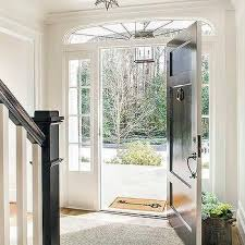 Exterior Door With Side Lights Black Front Door With Sidelights Transitional Entrance Foyer