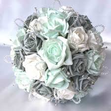 mint green corsage and grey wedding bouquet corsage mint u roses diamantes artificial
