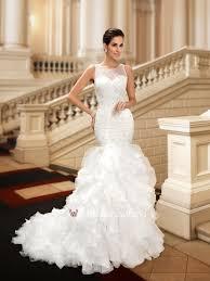 mermaid wedding dresses custom made fashionable beaded neck ruffles mermaid wedding