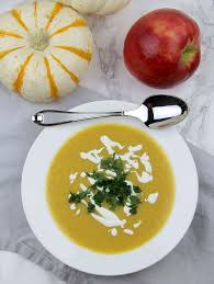 butternut squash apple soup with caramelized onions
