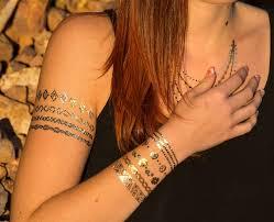 flash tattoo classic gold silber 9 teilig tattoo zum aufkleben