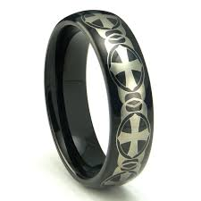 celtic mens wedding bands black tungsten carbide laser engraved celtic cross dome wedding
