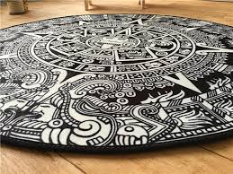Black And White Bathroom Rugs Totem Round Mat Printed Soft Carpet Black And White Bath Rugs Kids