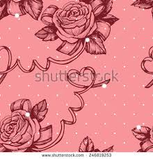 vintage patterns roses hearts stock vector 246819253