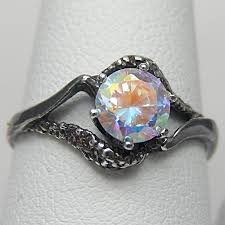 Gothic Wedding Rings by 3 Day Sale Gothic Engagement Ring Celestial Sky Mystic Fire Ice