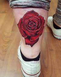 3d rose tattoo on back leg