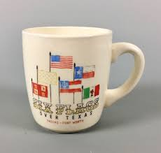 Call Six Flags Over Texas Vintage Six Flags Over Texas Mug Cup Flags Dallas Fort Worth 1st
