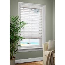 shop allen roth 2 5 in white faux wood room darkening plantation