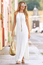 white maxi dress trending fashion women s white travel high neck maxi dress by