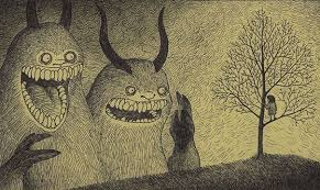 creepy monsters drawn on sticky notes by john kenn mortensen