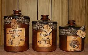 primitive kitchen canisters primitive 1865 brand sugar coffee tea label grubby metal canister