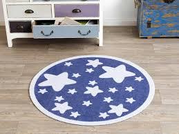 kinderzimmer teppich rund velours kinder teppich sterne blau rund 100 cm 101944 teppiche