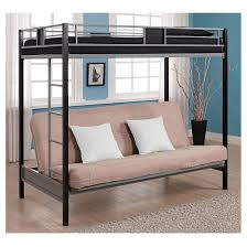Silver Screen Twin Over Futon Metal Bunk Bed SilverBlack - Futon bunk bed