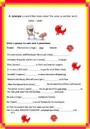 synonyms antonyms 2 pages with key