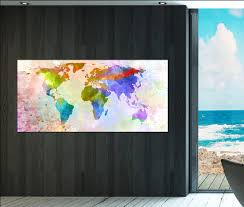 World Map Artwork by Office Decor World Map Wall Art Print On Canvas Office Decor World
