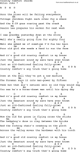 Country Comfort Elton John Song Lyrics With Guitar Chords For Country Comfort