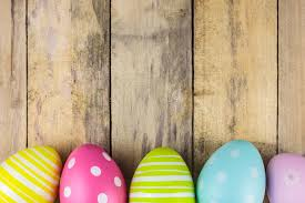 wooden easter eggs that open dyed easter eggs on a wooden background stock photo image of