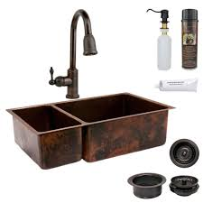 copper kitchen sink faucets premier copper products all in one undermount hammered copper 33