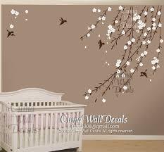 Nursery Room Tree Wall Decals Cherry Blossom Birds Nursery Wall Decals By Cuma Wall Decals On Zibbet