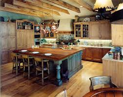 large rustic kitchen island with wooden countertop and distressed