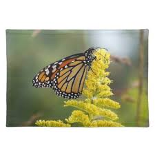 monarch butterfly on goldenrod cloth placemat kitchen gifts diy