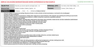 Childcare Worker Resume Childcare Worker Job Title Docs