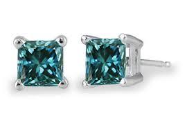 blue diamond stud earrings 1 2 carat princess cut blue diamond stud earrings 14k white gold