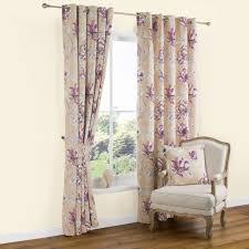 Purple Floral Curtains Calendula Purple Floral Print Printed Eyelet Curtains W
