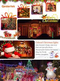 qedertek 200 led solar powered christmas lights 72ft fairy lights