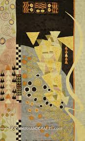Modern Abstract Rugs Klimt Modern Abstract Rug Wall Art Hand Embroidered 3ft X 5ft