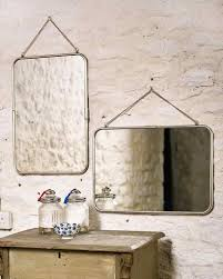 hanging mirror with chain rectangular metal frame in silver finish