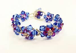 sapphire crystal bracelet images Crystal flower bracelet beadwork kit with swarovski elements png