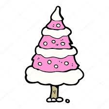 cartoon pink christmas tree character u2014 stock vector
