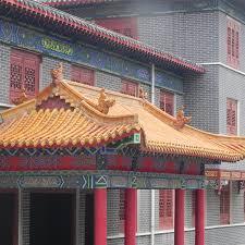 Ceramic Tile Roof Gold Glaze Chinese Style Ceramic Tile Roof Temple In Singapore