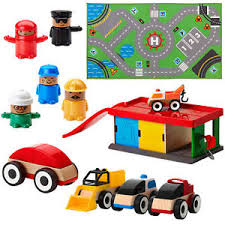 ikea lillabo wooden toy garage cars figures truck and