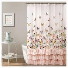 Duck Shower Curtains Flutter Butterfly Shower Curtain Pink Lush Decor Target