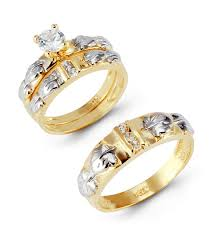 gold set for marriage 14k yellow white gold leaves cz wedding ring set trio sets